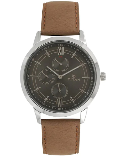 titan on trend anthracite dial brown leather strap watch for men 1769sl01-1769SL01