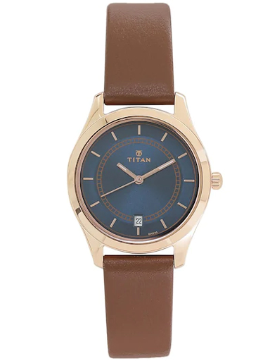 titan work wear blue dial brown leather strap women's watch 2596wl03-2596WL03