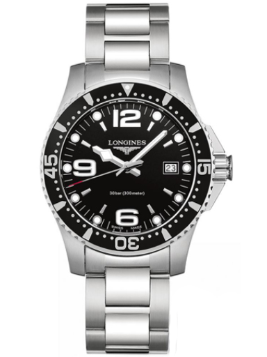 longines hydro conquest stainless steel black dial men's watch-L3.740.4.56.6