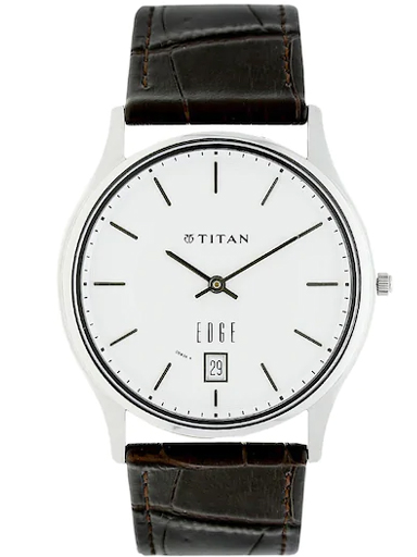 titan edge white dial brown leather strap men's watch nk1683sl01a-NK1683SL01A