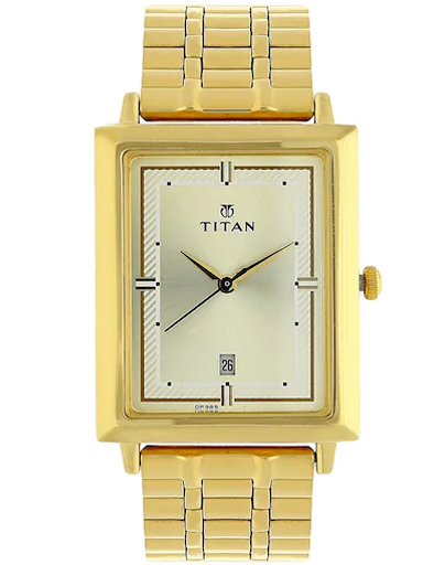 titan champagne dial golden stainless steel strap men's watch nk1715ym02-NK1715YM02