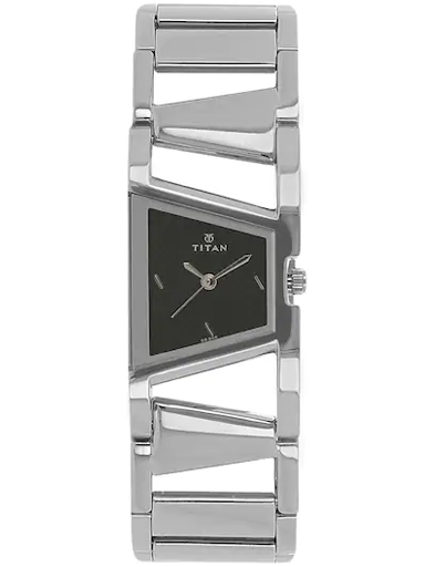 titan black dial silver stainless steel strap women's watch nk2486sm02-NK2486SM02