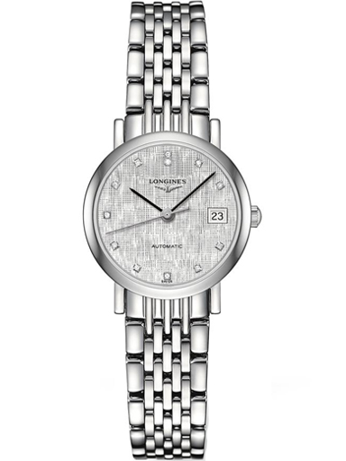 longines elegant automatic silver dial stainless steel diamond ladies watch-L4.309.4.77.6