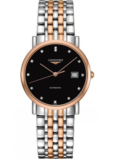 longines elegant automatic black diamond dial steel and 18 kt rose gold ladies watch-L4.809.5.57.7