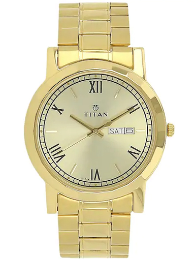 titan champagne dial gold stainless steel strap men's watch nk1644ym03-NK1644YM03