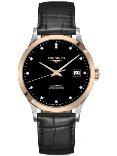 longines record collection automatic black dial men's watch-L2.821.5.57.2