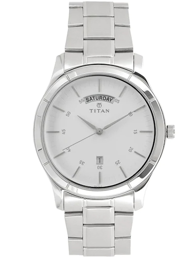 Titan Work Wear White Dial Stainless Steel Strap Watch For Men 1767SM01-1767SM01