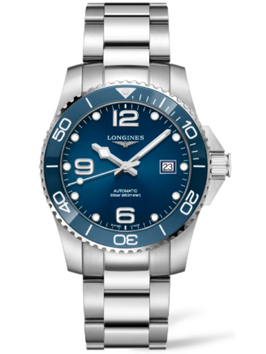 longines hydro conquest automatic 41 mm blue dial watch for men's-L3.781.4.96.6