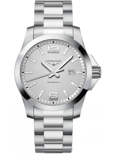 longines conquest silver dial stainless steel men's watch-L3.760.4.76.6