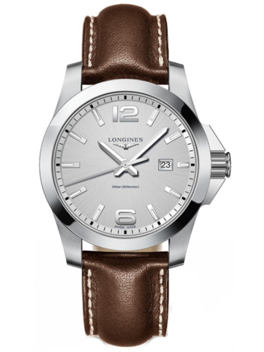 longines conquest silver dial brown leather men's watch-L3.760.4.76.5
