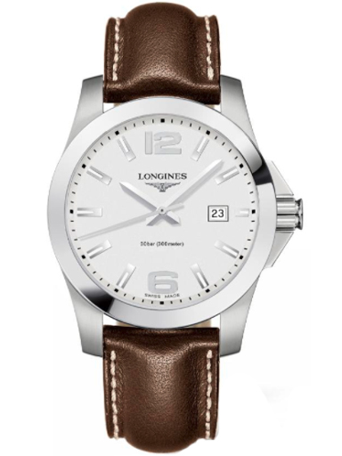 longines conquest silver dial men's watch-L3.759.4.76.5