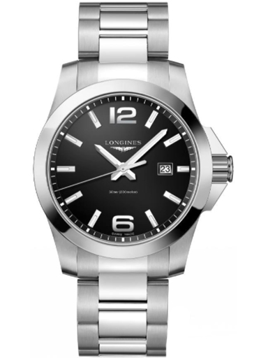 longines conquest black dial men's stainless steel watch-L3.760.4.56.6