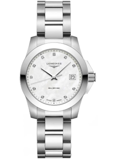 longines conquest mother of pearl dial ladies watch-L3.377.4.87.6