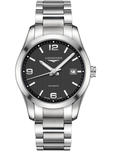 longines conquest automatic black dial stainless steel men's watch-L2.785.4.56.6