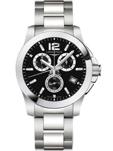longines conquest chronograph black dial stainless steel men watch-L3.660.4.56.6