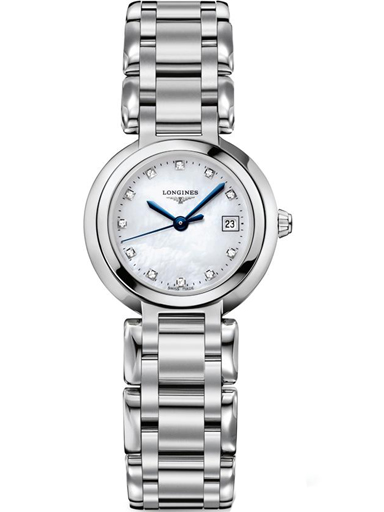 longines primaluna white mother of pearl dial stainless steel ladies watch-L8.110.4.87.6