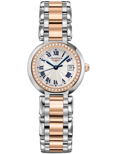 longines primaluna two-tone  rose gold & steel diamond womens watch-L8.110.5.79.6