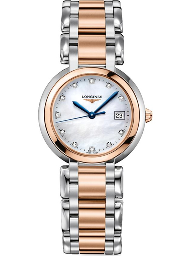 longines primaluna white mop stainless steel and 18k t rose gold dial ladies watch-L8.112.5.87.6