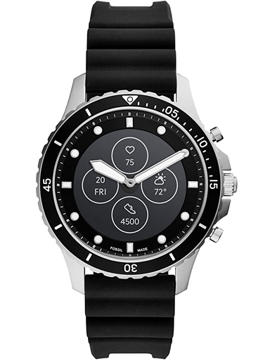 fossil hybrid smartwatch hr fb-01 black silicone strap watch ftw7018-FTW7018