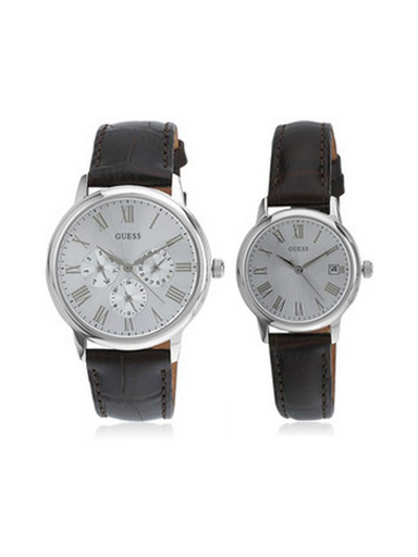 Guess Black/Silver Analog Pair Watches-W18552P2