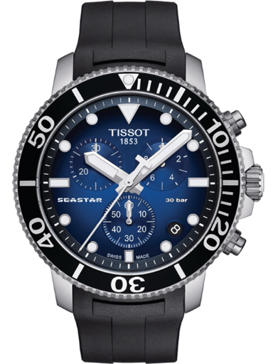 Tissot Seastar 1000 Chronograph Blue Gradient Dial Men's Watch-T120.417.17.041.00