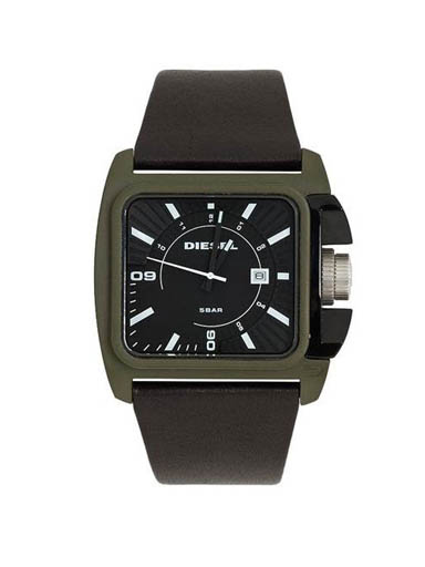 Diesel Black Leather/Black Analog Watch-DZ1543