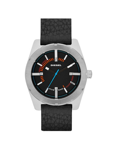 Diesel Black Analog Dial Leather Watch-DZ1597