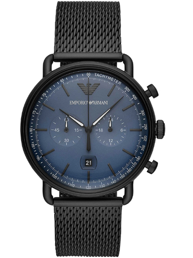 emporio armani aviator men's blue dial metallic chronograph watch-AR11201I
