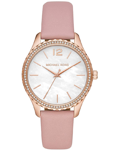 michael kors women analogue quartz watch with rose gold leather strap-MK2909