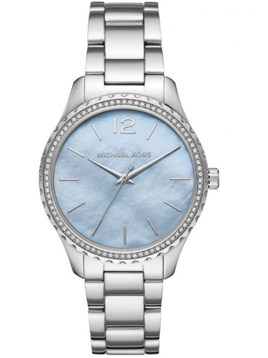 michael kors women analogue quartz watch blue dial with stainless steel strap-MK6847I