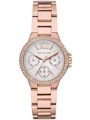 michael kors camille rose gold ladies watch with day date stainless steel strap-MK6845