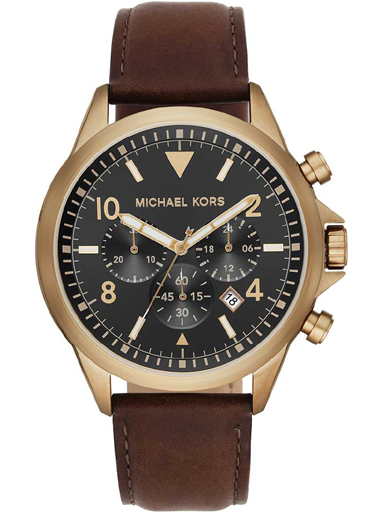 michael kors gage men's chronograph black dial leather watch-MK8785I