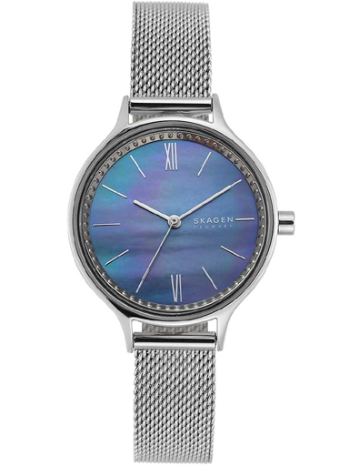 skw2862i skagen analog mother of pearl dial women's watch anita three-hand silver-tone steel-mesh watch-SKW2862I
