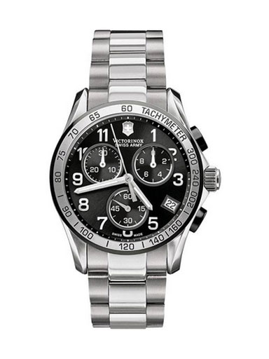 Swiss Army Chrono Classic Stainless Steel Mens Watch Black Dial Calendar -241403