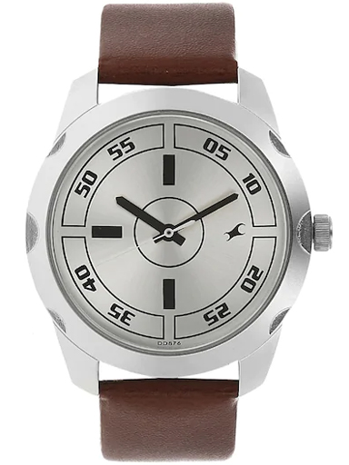 fastrack casual analog silver dial men's watch-NM3123SL02