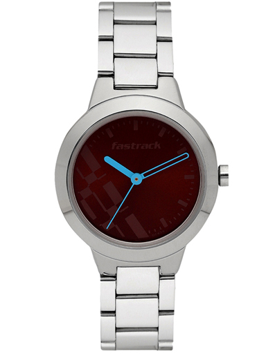 fastrack analog brown dial women's watch-NM6150SM02