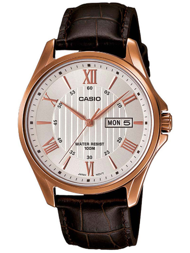 casio enticer analog white dial men's watch-A882