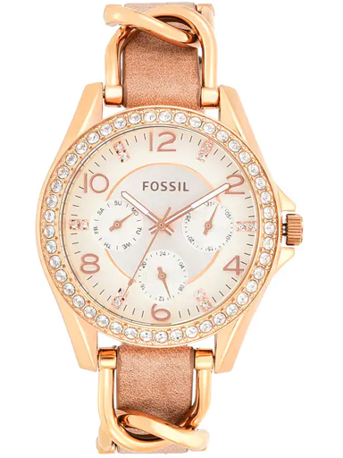 Fossil Riley Multifunction Rose-Tone & Sand Leather Watch-ES3466