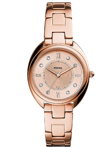 fossil gabby analog rose gold dial women's watch-ES5070I