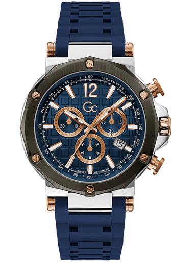 GC Mens Blue Dial Silicone Chronograph Watch-Y53007G7MF