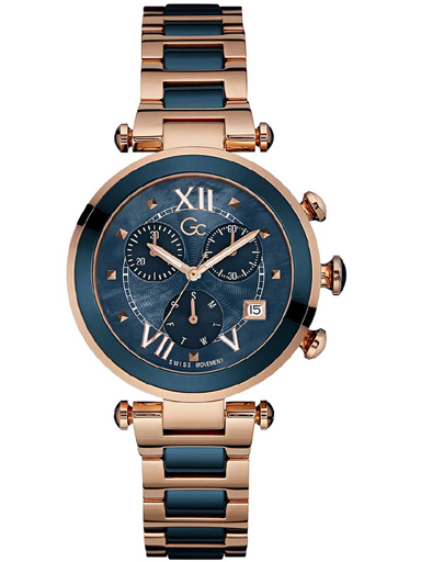 Gc Chronograph Women's Watch (Navy Blue Dial Navy Blue & Copper Colored Strap)-Y05009M7MF