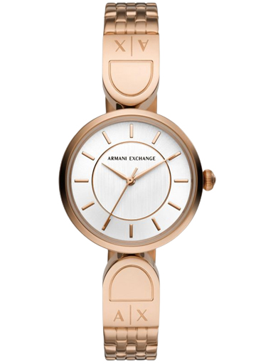 armani exchange three-hand rose gold-tone stainless steel watch-AX5379I