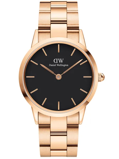 daniel wellington iconic conic link 36mm analogue unisex watch(black dial rose gold colored strap)-DW00100210