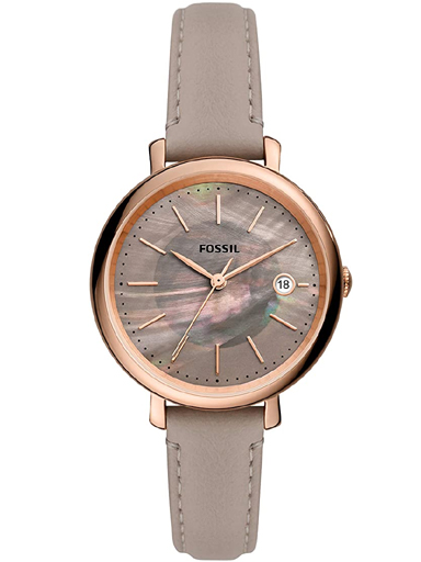 fossil women's jacqueline stainless steel and leather solar-powered watch-ES5091I