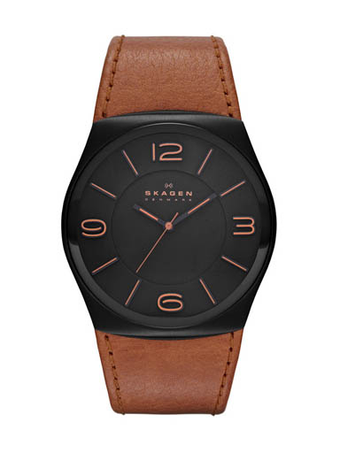Skagen Men's Perspektiv 3-Hand Analog Black Dial Brown Leather Band Watch-SKW6040