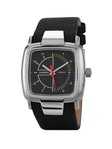 Diesel Black Leather/Black Dial Analog Watch-DZ4031