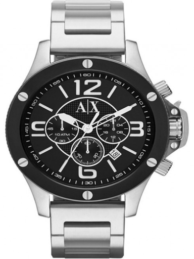 a/x chronograph black dial stainless steelwatch-AX1501