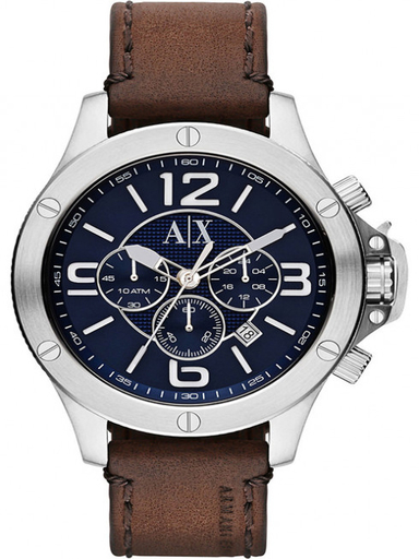 a/x chronograph blue dial brown leatherwatch-AX1505