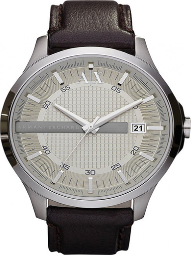 a/x smart silver dial brown leatherwatch-AX2100