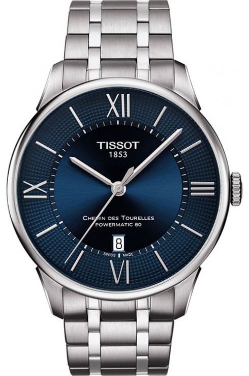 Tissot Chemin des Tourelles Powermatic 80 Blue Dial Watch For Men's-T0994071104800